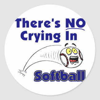 There's No Crying In Softball Classic Round Sticker