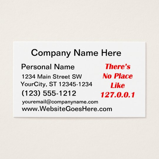 Theres No Place like 127001 red Business Card