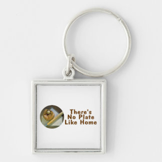 Theres No Plate Like Home (Baseball) Silver-Colored Square Keychain