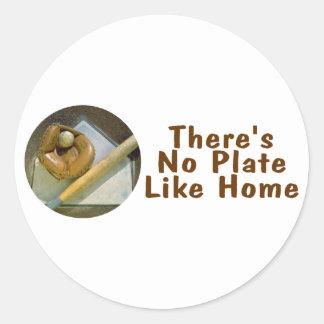 Theres No Plate Like Home (Baseball Softball) Classic Round Sticker