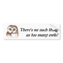 There's no such thing as too many owls, Quote Bumper Sticker