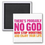 There's probably no god, now stop worrying... 2 inch square magnet