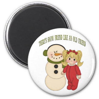 There's Snow Friend Like An Old Friend Holiday Mag Refrigerator Magnets