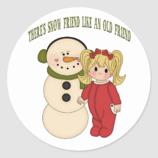 There's Snow Friend Like An Old Friend Holiday Sti Classic Round Sticker
