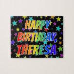 "[ Thumbnail: ""Theresa"" First Name, Fun ""Happy Birthday"" Jigsaw Puzzle ]"