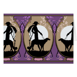 Theresa in Brown & Plum - Art Deco Lady with Dog Card