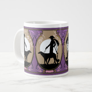 Theresa in Brown & Plum - Art Deco Lady with Dog Giant Coffee Mug