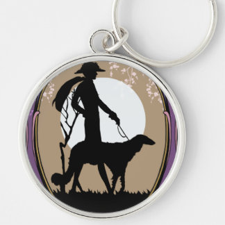 Theresa in Brown & Plum - Art Deco Lady with Dog Keychain