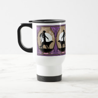Theresa in Brown & Plum - Art Deco Lady with Dog 15 Oz Stainless Steel Travel Mug