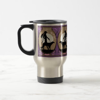 Theresa in Brown & Plum - Art Deco Lady with Dog Travel Mug