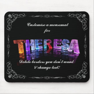 Theresa  - The Name Theresa in 3D Lights (Photogra Mouse Pad
