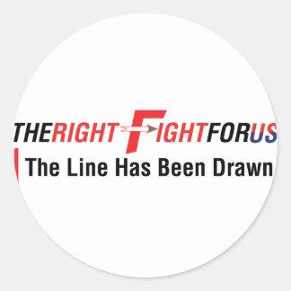 TheRightFightForUS con Tagline Pegatinas Redondas
