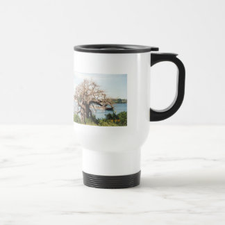 """Thermal cup """"tree at the river """" 15 oz stainless steel travel mug"""