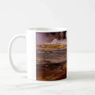 THERMAL POOL WITH DRY TREES AND GOLD TERRACES COFFEE MUG