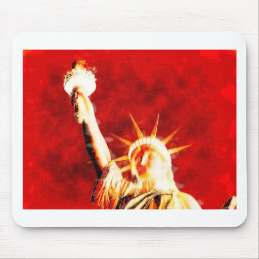 Thermal Statue of liberty face Mouse Pads