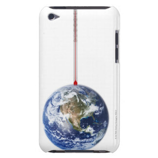 Thermometer sticks in the earth. 2 iPod touch cover