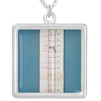 Thermometer surmounted with a phrygian bonnet silver plated necklace