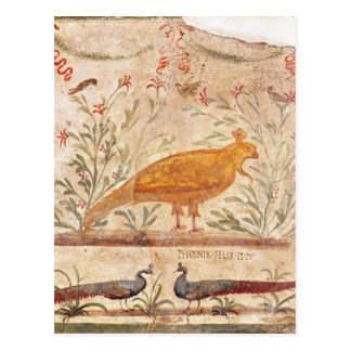 thermopolium  depicting phoenix and inscription postcard