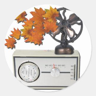 ThermostatHeaterFanLeaves052215 Pegatina Redonda