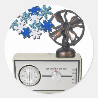 ThermostatHeaterFanSnowflakes052215 Pegatina Redonda