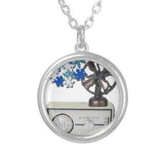 ThermostatHeaterFanSnowflakes052215 Silver Plated Necklace