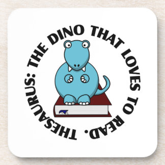 Thesaurus: A Dinosaur Who Loves to Read Books Beverage Coaster