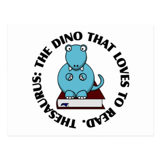 Thesaurus: A Dinosaur Who Loves to Read Books Postcard
