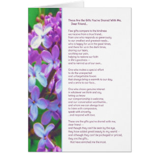 These are the gifts you've shared...Friendship Greeting Card