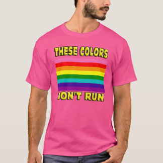 These colors dont run. Original 8 stripe LGBT flag T-Shirt