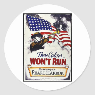 These Colors, Won't Run, Pearl Harbor Round Sticker