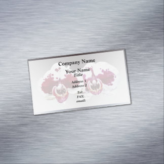 These maroon and white Phalaenopsis orchids with t Business Card Magnet