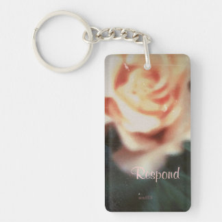 These Quiet Seasons August Rose Double-Sided Rectangular Acrylic Keychain