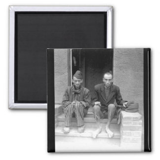 These two staring, emaciated men are_War Image 2 Inch Square Magnet