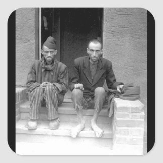 These two staring, emaciated men are_War Image Square Sticker