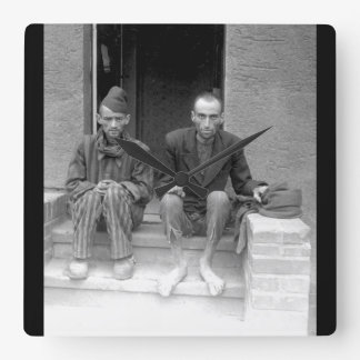 These two staring, emaciated men are_War Image Square Wall Clock