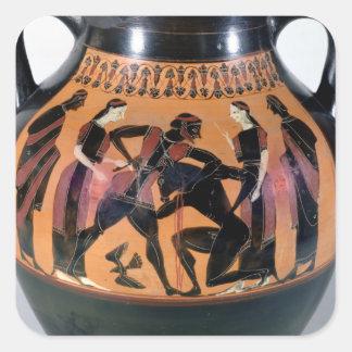 Theseus que lucha el Minotaur Pegatina Cuadrada