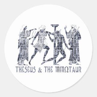Theseus y el Minotaur Pegatina Redonda