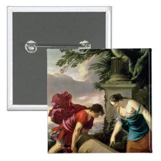 Theseus y su madre Aethra, c.1635-36 Pin Cuadrado