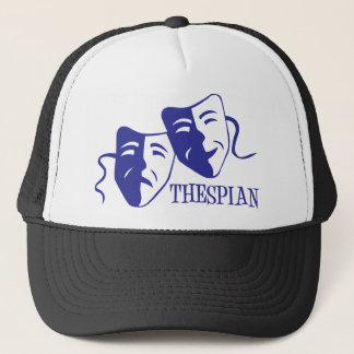 thespian blue trucker hat