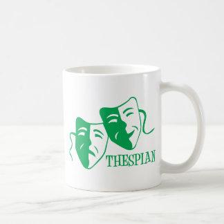 thespian green coffee mug
