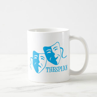 thespian light blue classic white coffee mug