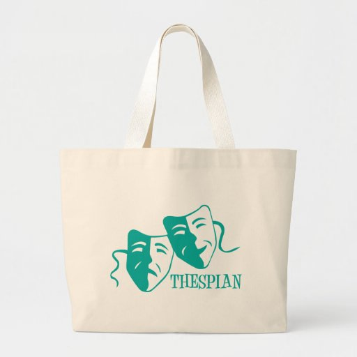 thespian light teal large tote bag