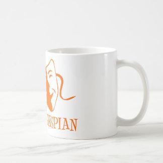 thespian orange coffee mug