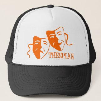 thespian orange trucker hat