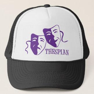 thespian purple trucker hat