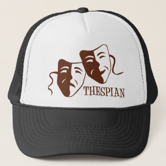 thespian red brown trucker hat