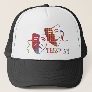 thespian red plaid trucker hat