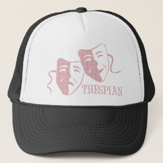 thespian soft pink plaid trucker hat