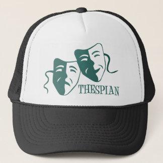 thespian teal gradient trucker hat