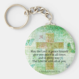 Thessalonians 3:16  Inspirational BIBLE quote Keychain